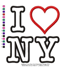 Applique I Love New York Embroidery Design