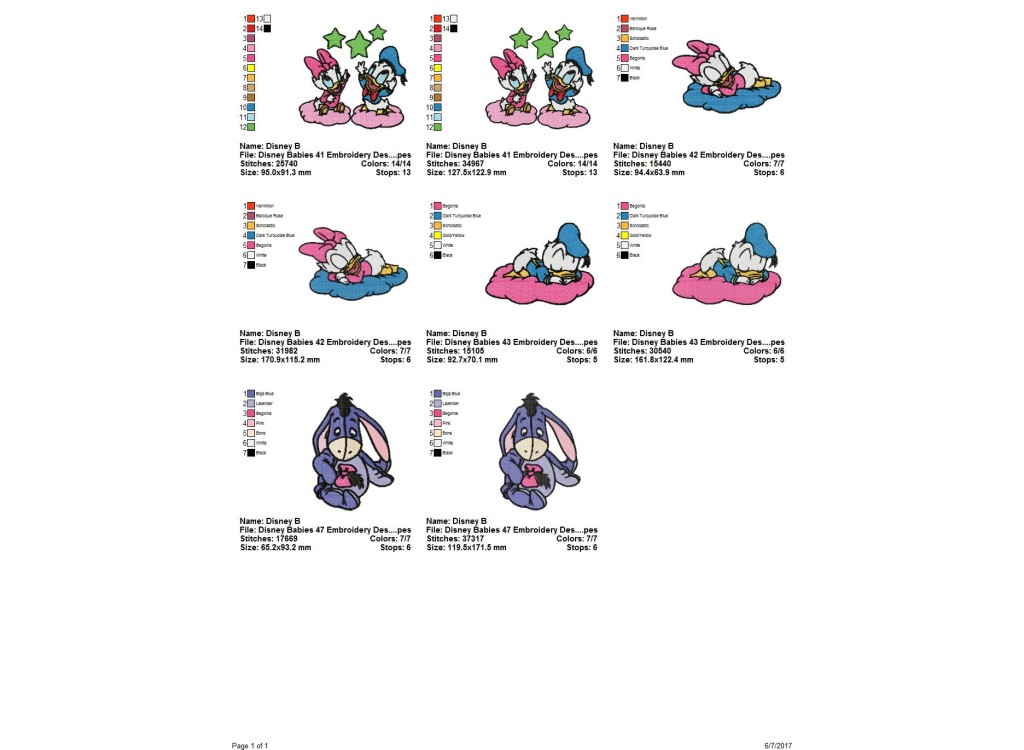 Package 4 Disney Babies 14 Embroidery Designs