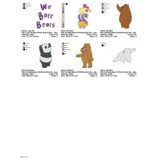 Package 6 We Bare Bears 01 Embroidery Designs