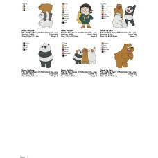 Package 6 We Bare Bears 02 Embroidery Designs