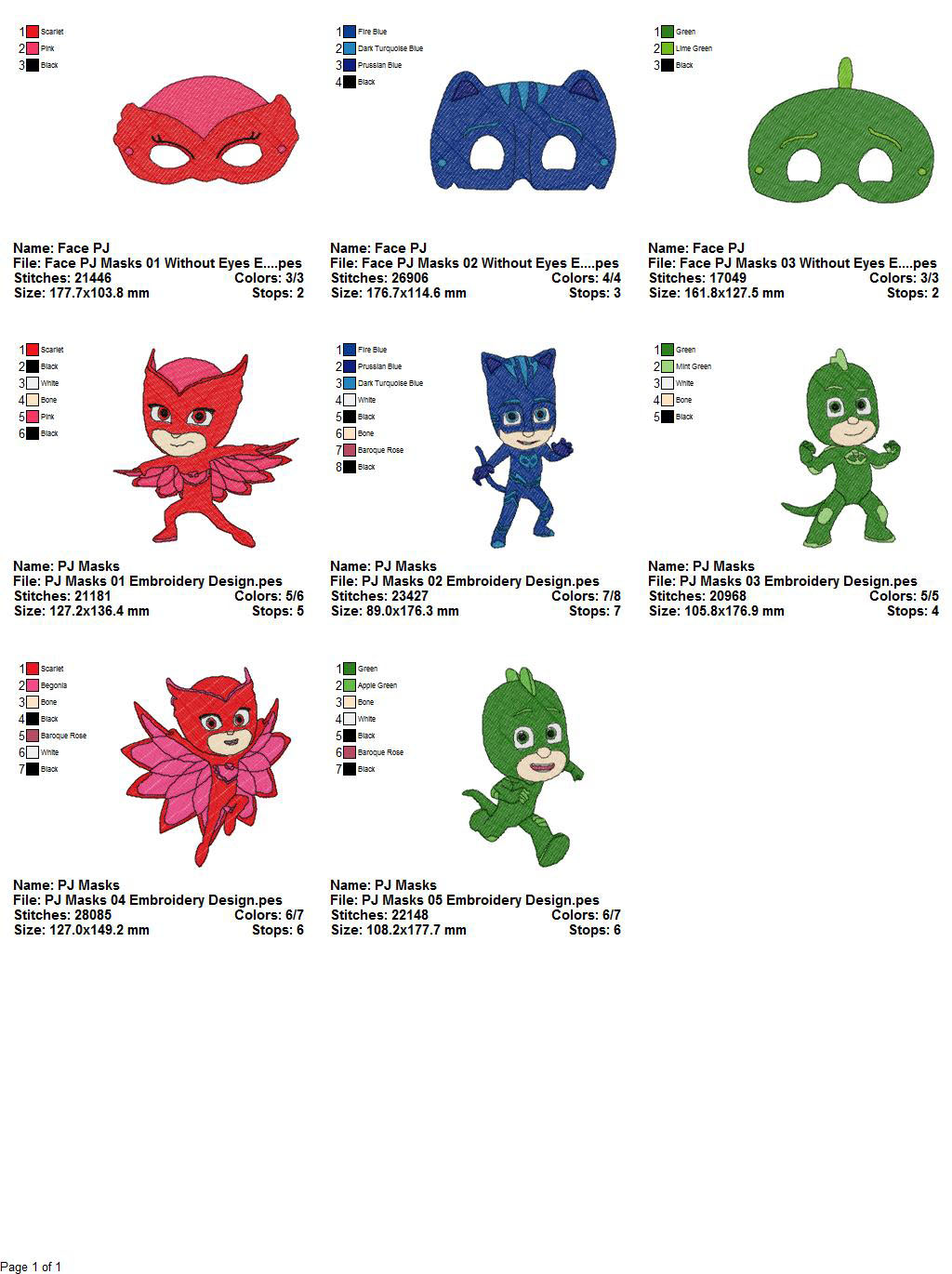 Package pj masks embroidery designs